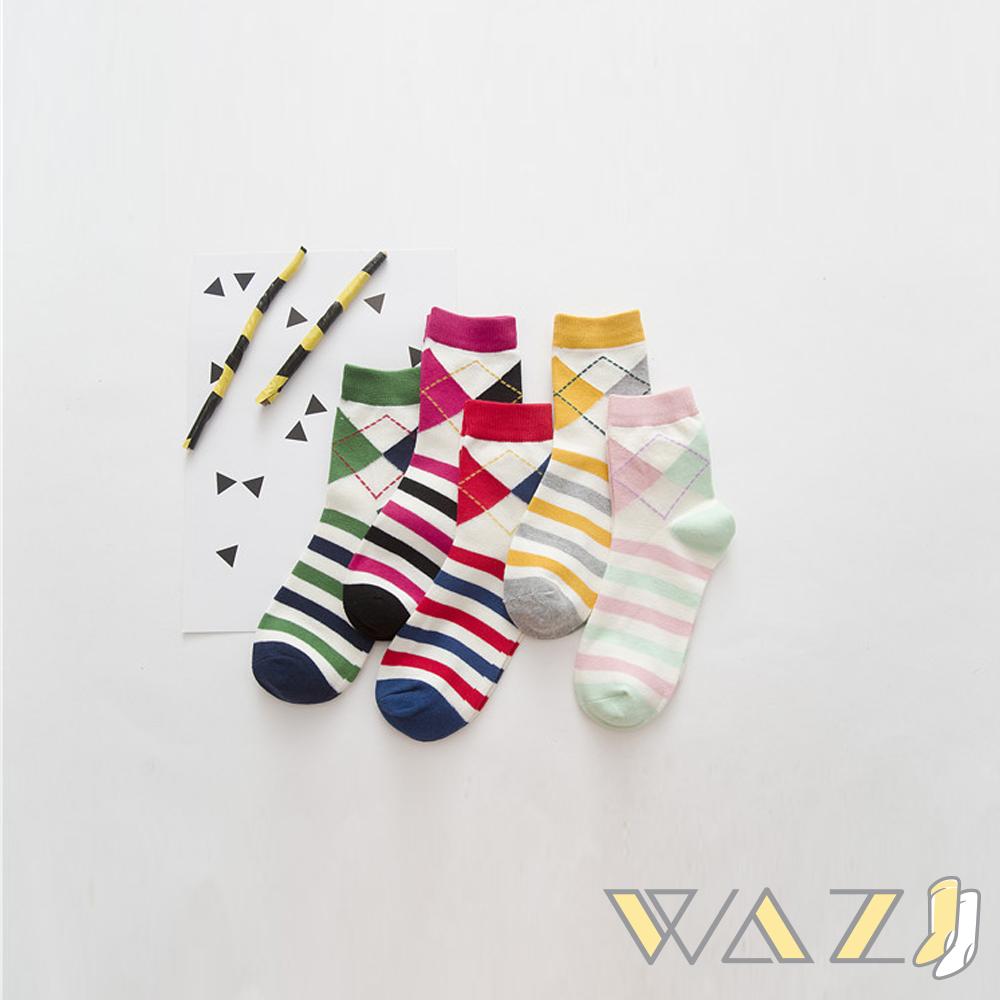 Wazi-小清新菱格條紋中筒襪 (1組四入) @ Y!購物