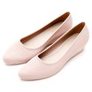 River&Moon防水鞋-晴雨二穿Q軟髮絲紋尖頭楔型跟鞋-粉
