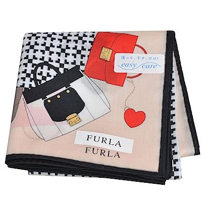 FURLA 經典包包圖騰品牌字母LOGO圖騰帕領巾(粉膚)