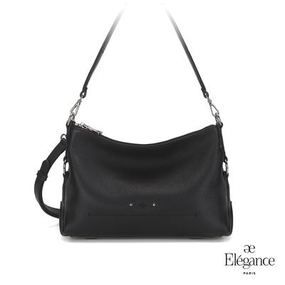 【Elegance】ADELA簡約牛皮小側背包-黑色