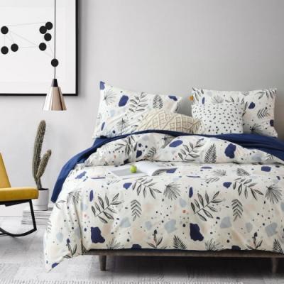 La Lune MIT頂級精梳棉200織紗雙人加大床包被套四件組 藍花楹