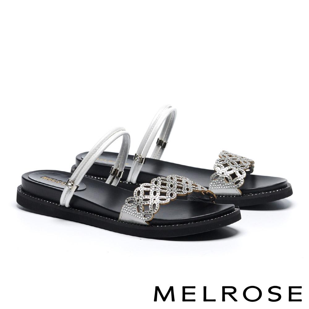 拖鞋 MELROSE 氣質高雅簍空晶鑽造型兩穿涼拖鞋-銀