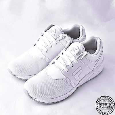FILA男款輕量慢跑鞋~白 1-J316S-114