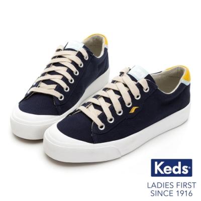 Keds CREW KICK 活力撞色綁帶帆布鞋-深藍