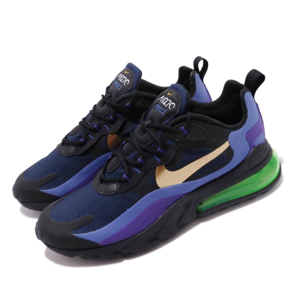 Nike 休閒鞋 Air Max 270 React 男鞋 海外限定 氣墊 避震 舒適 球鞋 穿搭 藍 黑 AO4971005