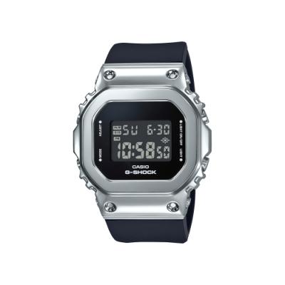 CASIO卡西歐 G-SHOCK 簡約優雅 月光銀錶殼 金屬時尚 GM-S5600-1_38.4mm