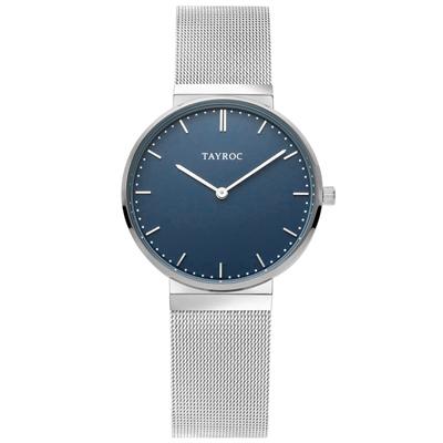 TAYROC  簡約時尚精美米蘭腕錶-銀X藍(TY142)-40mm