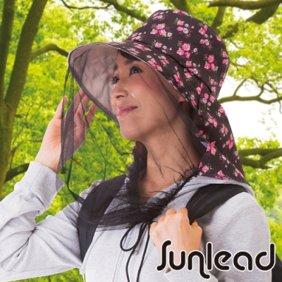 Sunlead 防蚊蟲。紗網面罩防曬護頸遮陽帽 (黑色)