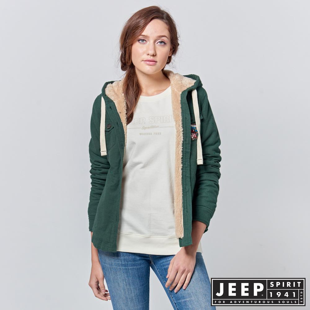 JEEP 女裝 休閒百搭絨毛連帽外套 -森林綠