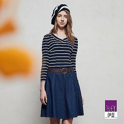 ILEY伊蕾 針織條紋拼接牛仔洋裝魅力價商品(藍)