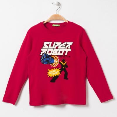 bossini男童-印花長袖T恤09暗紅