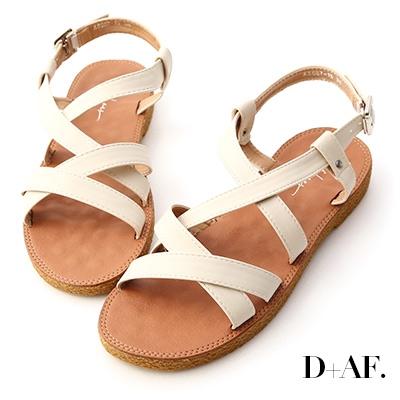 D+AF 好感率真.交叉線條平底涼鞋*米