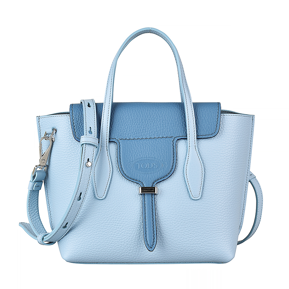 TOD'S經典壓紋LOGO荔枝紋牛皮扣式手提斜背包(藍)