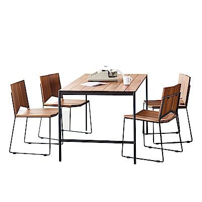 品家居 西布亞5尺雙色實木餐桌椅組合(一桌四椅)-150x80x74cm免組