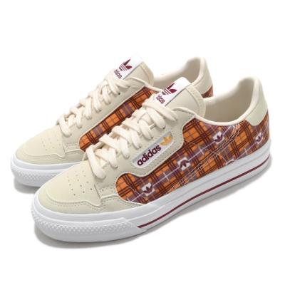 adidas 休閒鞋 Continental Vulc 女鞋 愛迪達 三葉草 格紋 球鞋穿搭 米 橘 FV5372