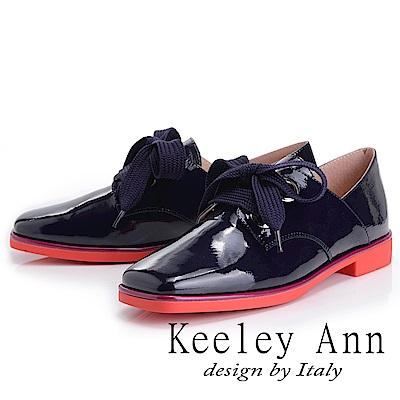 Keeley Ann 個性玩酷~視覺系拼接綁帶方頭低跟漆皮鞋(紫色-Ann)