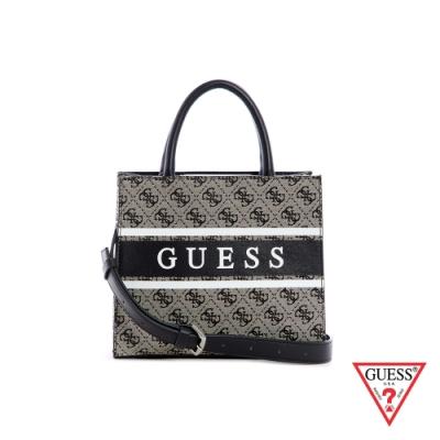 GUESS-女包-小款復古LOGO印花手提包-黑 原價2490