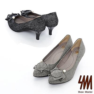 SM-真皮款-優雅金屬圓飾釦素雅高跟鞋2色