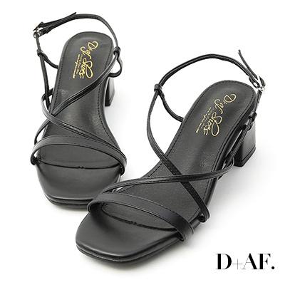 D+AF 獨特美型.一字交叉細帶中跟涼鞋*黑