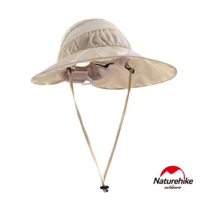 Naturehike 戶外百搭高防曬大帽簷輕巧可折疊遮陽帽 圓盤帽 卡其