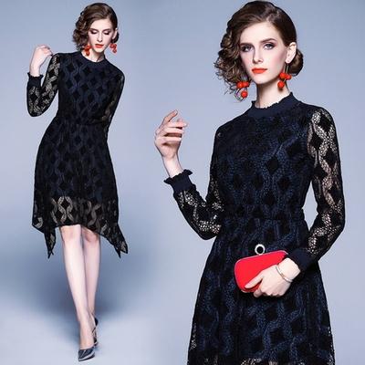 玩美衣櫃造型裙襬深藍菱格蕾絲洋裝S-XL-M2M
