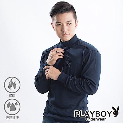 PLAYBOY 保暖衣 精梳棉保暖棉毛半高領長袖衫-單件-丈青