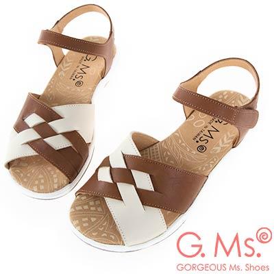 G.Ms. MIT系列-超輕量牛皮編織休閒厚底涼鞋-棕色