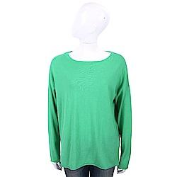 ALLUDE 喀什米爾綠色捲邊細節素面針織羊毛衫