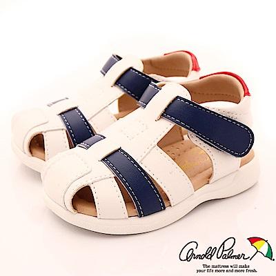 雨傘牌 皮質護趾涼鞋款 EI83251白(小童段)