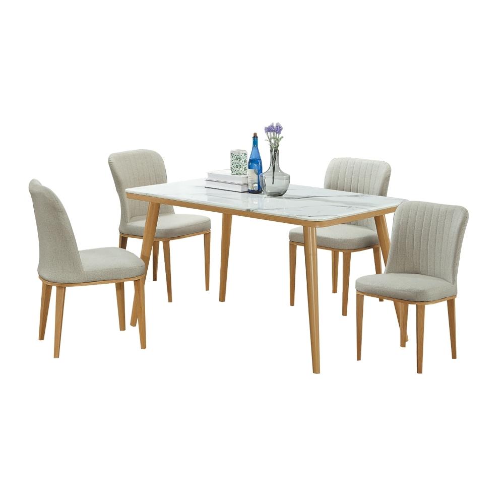 柏蒂家居-田藤4.3尺石面餐桌椅組合(一桌四椅)-130x80x76cm