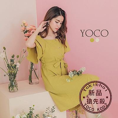 東京著衣-YOCO 韓國姐姐雙層波浪袖兩穿排釦洋裝-S.M.L(共兩色)