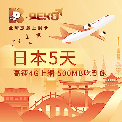 【PEKO】日本上網卡 softbank 日本網卡 日本SIM卡 5日4G上網 500MB吃到飽