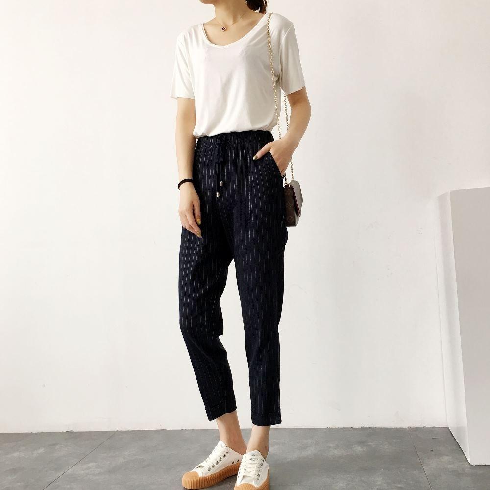 La Belleza鬆緊腰抽繩高腰側口袋彈性西裝褲小腳哈倫褲 product image 1