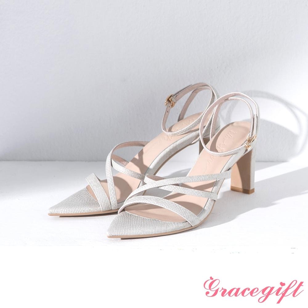 Grace gift X Ann-聯名繞踝尖頭高跟涼鞋 米蛇紋