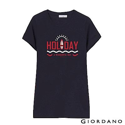 GIORDANO 女裝假期休閒印花T恤-55 標誌海軍藍