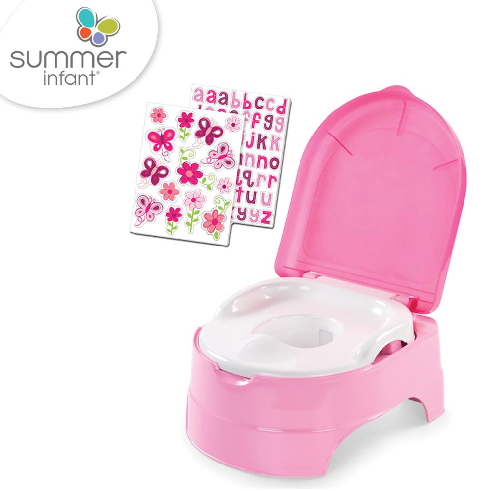 美國 Summer Infant 3合1兒童馬桶練習組 - 桃粉