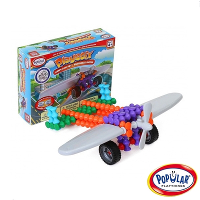 【美國Popular Playthings】竹節積木-飛機組(26pcs) #90061