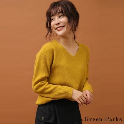 Green Parks 素面羅紋V領針織上衣