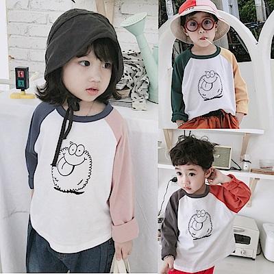 小衣衫童裝   男女兒童插間雙色長袖舒適棉T恤1070828