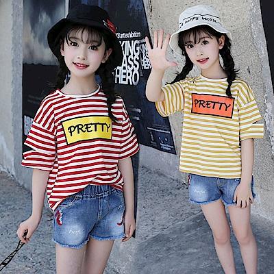 小衣衫童裝    中大女童夏季剪口短袖條紋T恤1070710
