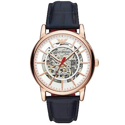 Emporio Armani 亞曼尼風尚鏤空機械真皮手錶-白X玫瑰金框/43mm