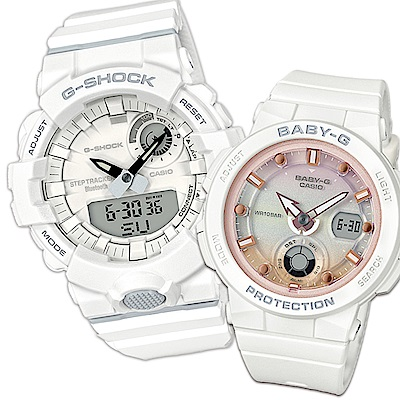 CASIO冬日戀心情侶休閒對錶(GBA-800-7ADR+BGA-250-7A2)