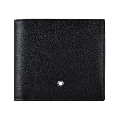 萬寶龍MONTBLANC Soft Grain六角星LOGO牛皮4卡對折短夾(黑)