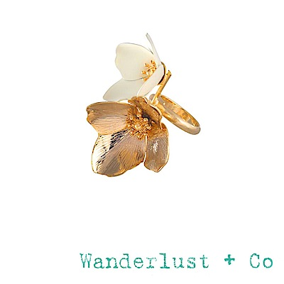 Wanderlust+Co 澳洲品牌 象牙白蛋殼花朵戒指 金色 MAIA IVORY