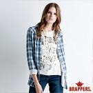 BRAPPERS 女款 格紋長版長袖襯衫-藍