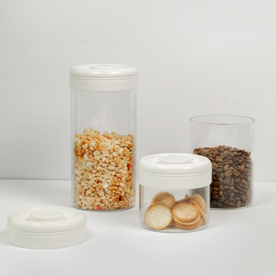 Timemore 泰摩 真空保鮮玻璃密封罐-三入組-白蓋(400ml+800ml+1200ml三種容量一次滿足)