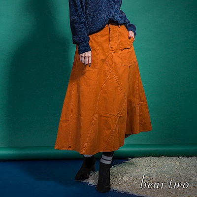 beartwo 氣質寬版素色A字長裙(二色)