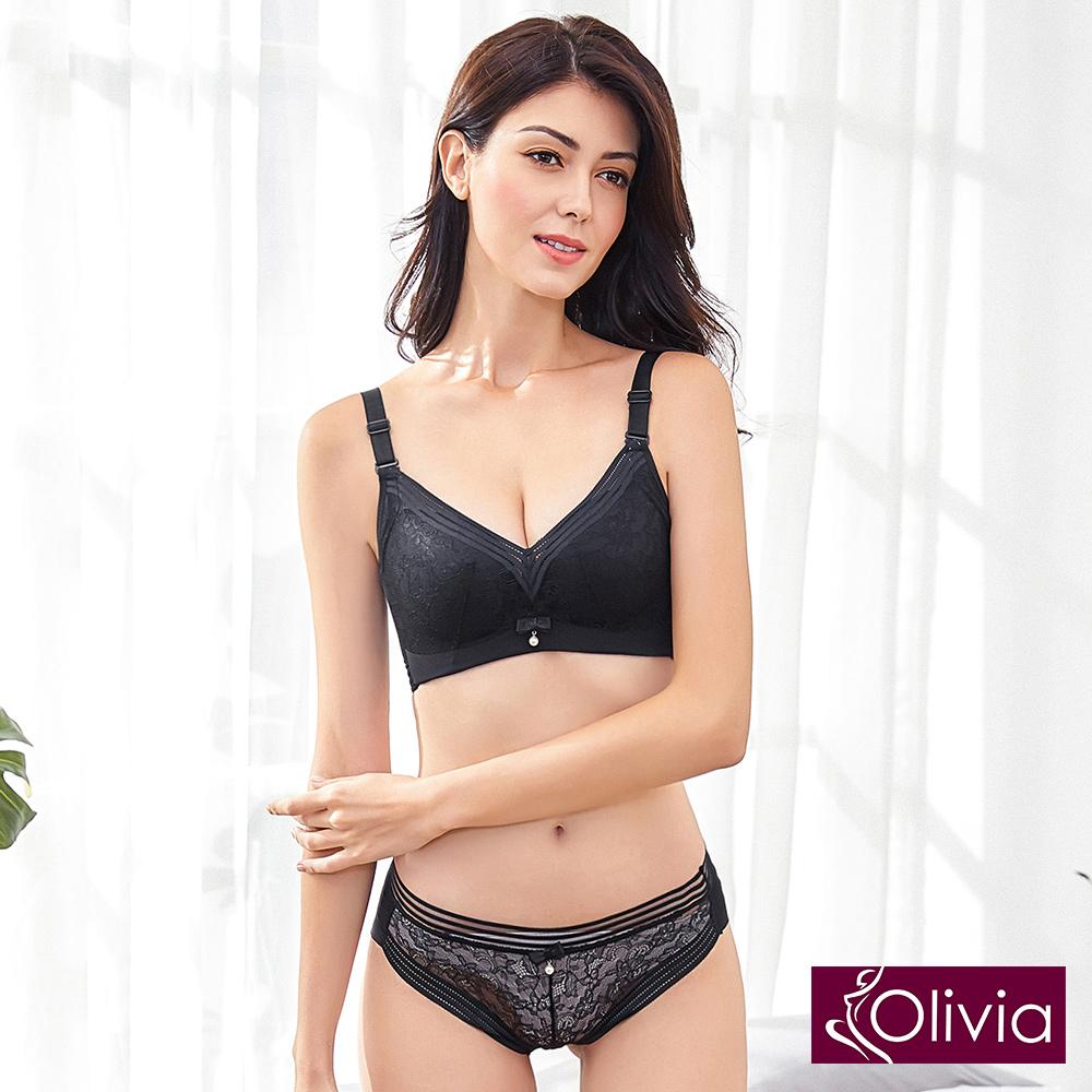 Olivia 無鋼圈素雅蕾絲內衣褲套組-黑色