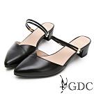 GDC-2WAY真皮小清新V型剪裁素色尖頭繞帶涼鞋-黑色