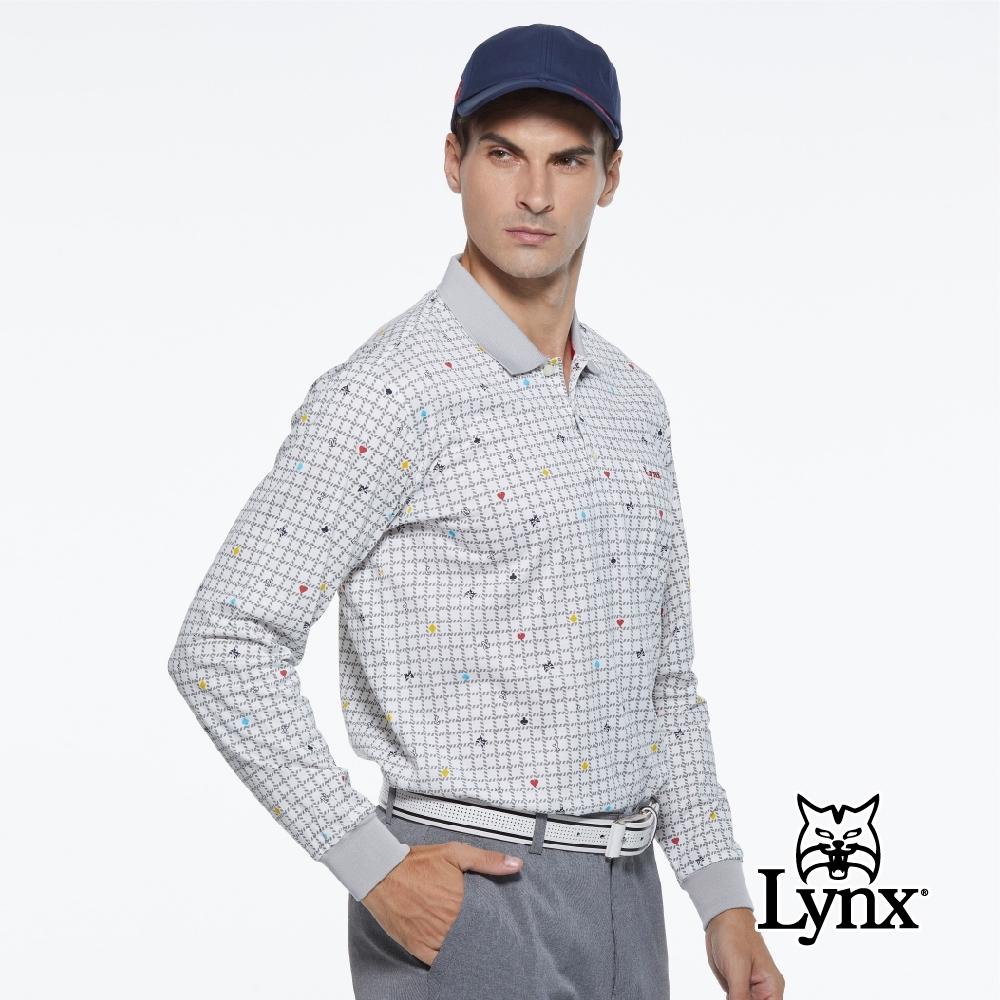 【Lynx Golf】男款純棉雙絲光方格繽紛花色胸袋款長袖POLO衫-白色